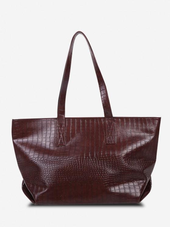 affordable Minimalistic Large Capacity Embossed Tote Bag - BROWN