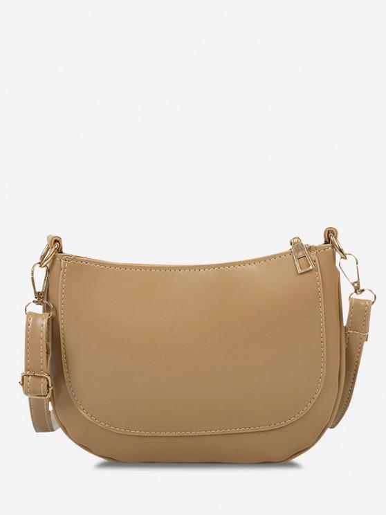 new Solid Top-Stitching Flat Crossbody Bag - KHAKI