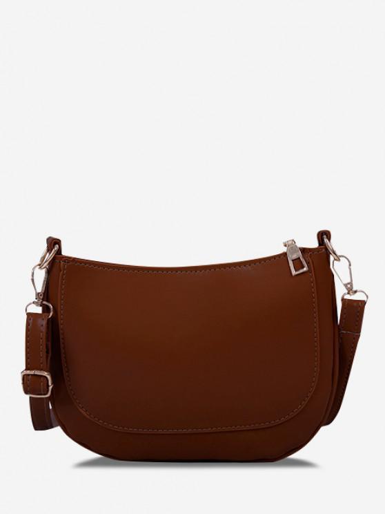 hot Solid Top-Stitching Flat Crossbody Bag - DEEP BROWN