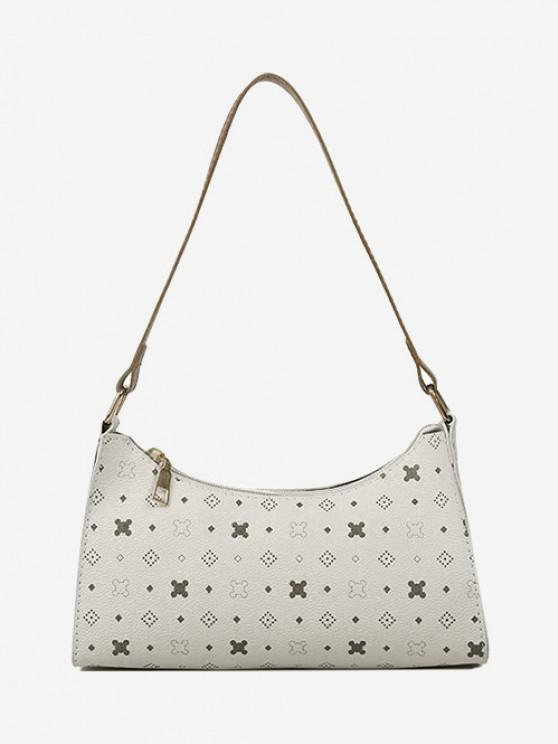 outfit All-Over Printed Textured Shoulder Bag - WARM WHITE