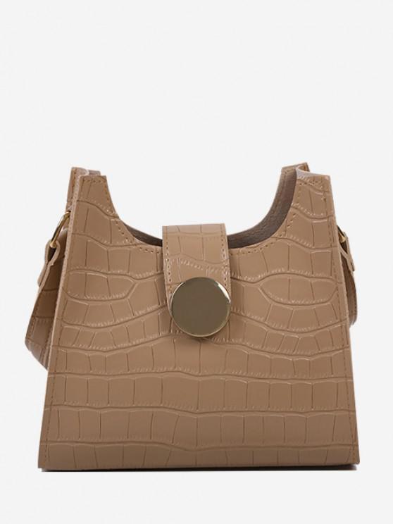 latest Embossed Wide Strap Shoulder Bag - KHAKI
