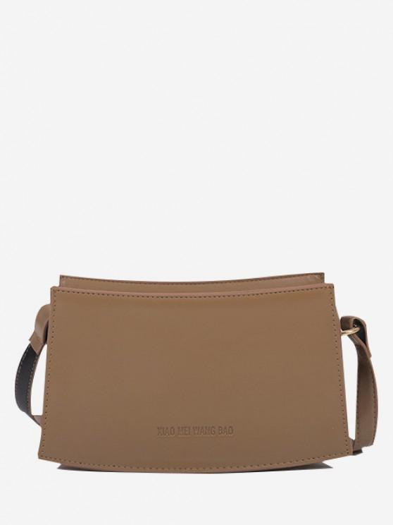 chic Curved Rectangle Top-Stitching Shoulder Bag - KHAKI