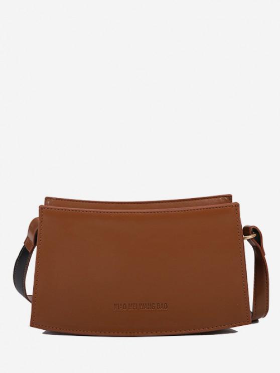 unique Curved Rectangle Top-Stitching Shoulder Bag - LIGHT BROWN
