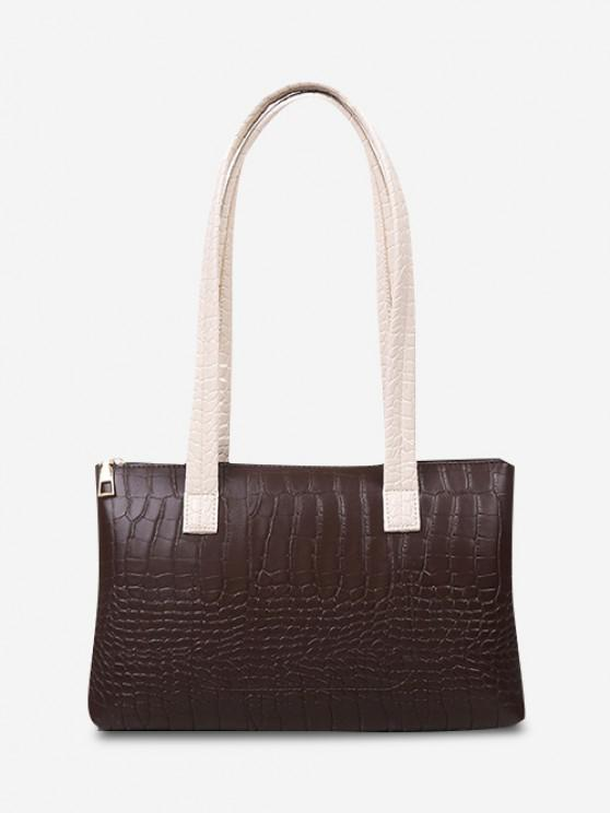 Embossed Double Handle Large Shoulder Bag - ديب براون