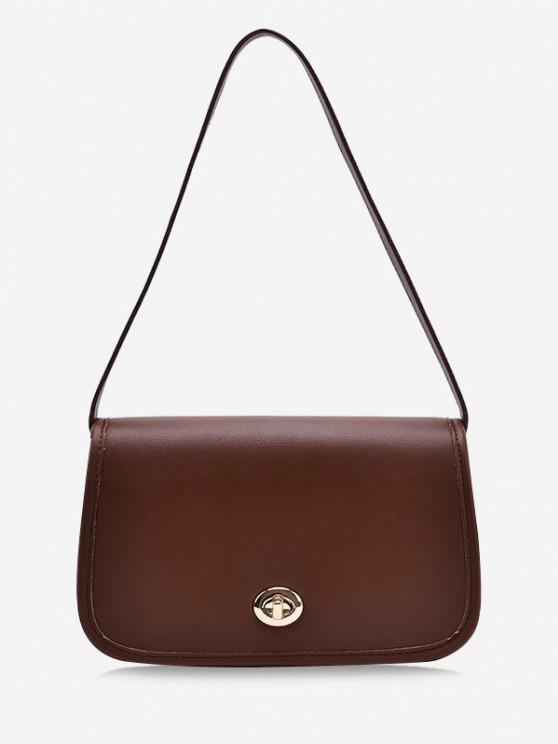 women's Flap Twist-Lock Topstitching Shoulder Bag - DEEP BROWN