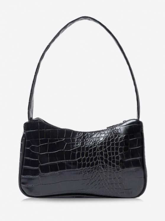 lady Solid Embossed Wide Strap Shoulder Bag - BLACK