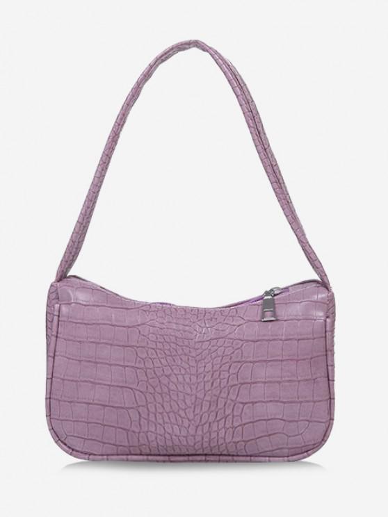 online Solid Embossed Wide Strap Shoulder Bag - LILAC