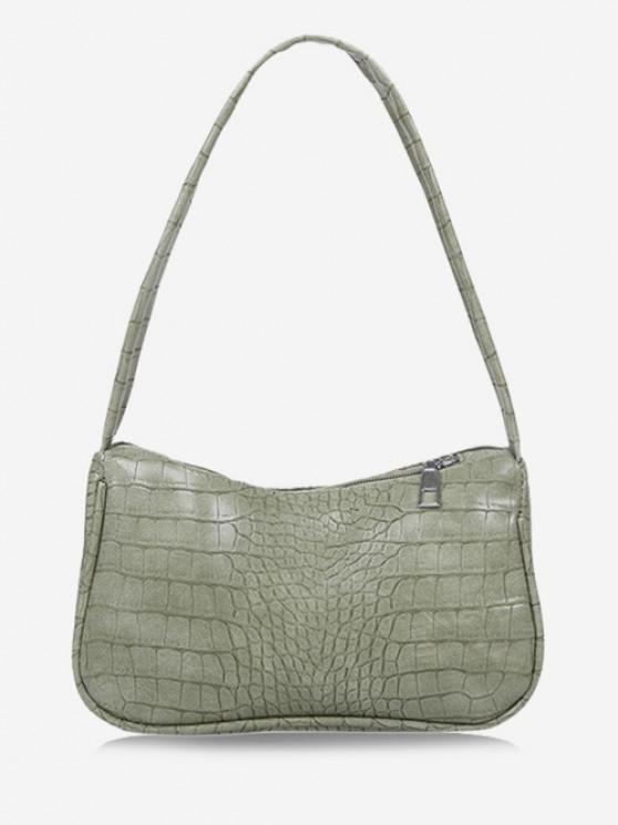 new Solid Embossed Wide Strap Shoulder Bag - LIGHT GREEN