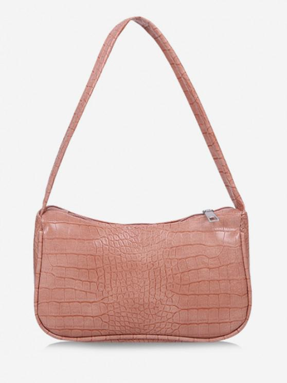 outfit Solid Embossed Wide Strap Shoulder Bag - PINK ROSE