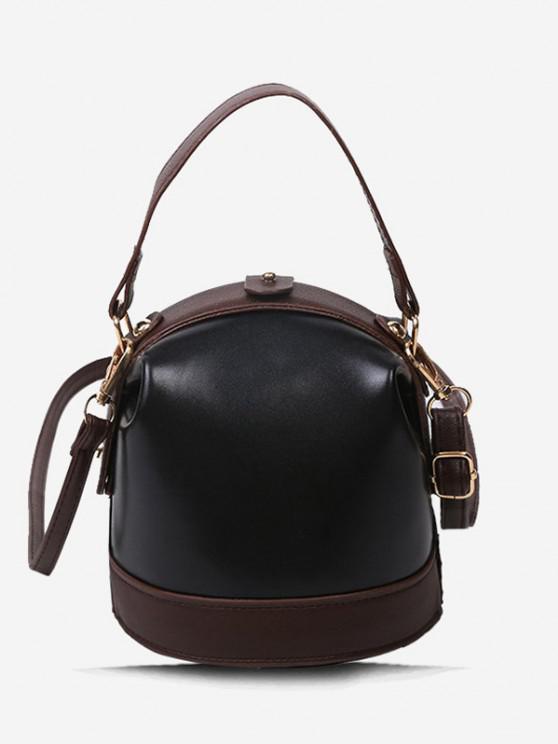 sale Color Contrast Dual Strap Top Snap Bucket Bag - BLACK