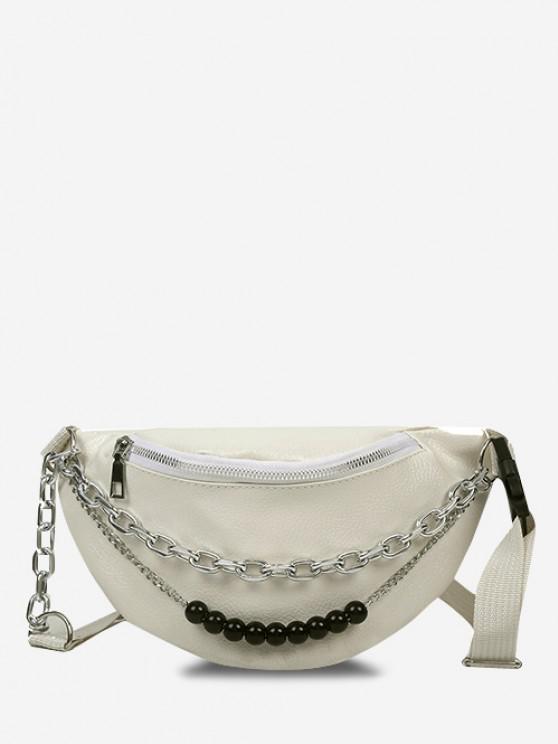 womens Double Chain Beaded Sling Bum Bag - WARM WHITE