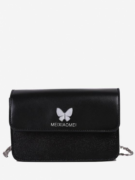 Schmetterlings Glitzer Klappe Mini Umhängetasche - Schwarz