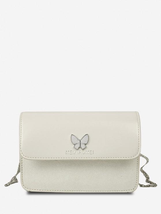 women's Butterfly Glitter Flap Mini Crossbody Bag - CRYSTAL CREAM