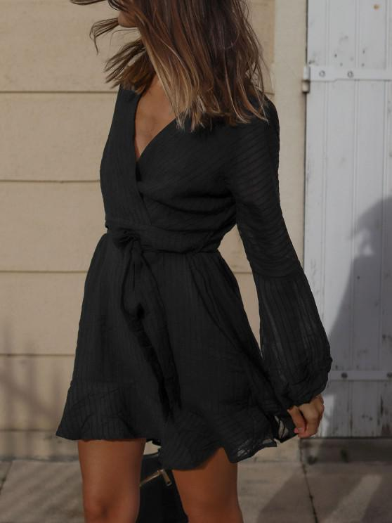Ruffled Long Sleeve Belted Surplice Dress - أسود S