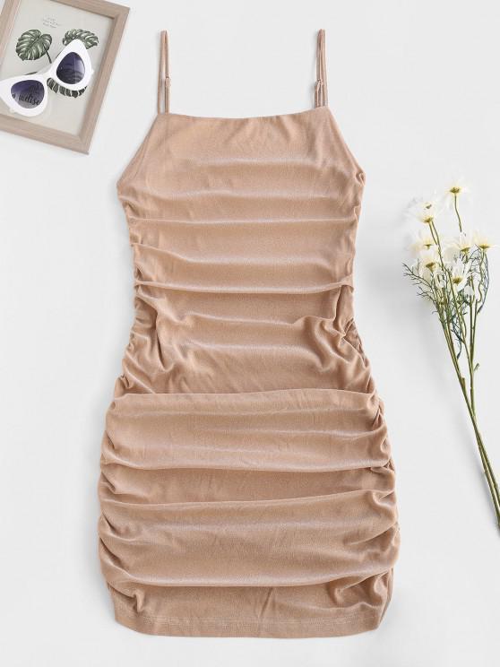 ZAFUL Glitter Ruched Slinky Bodycon Cami Dress - القهوة الخفيفة M