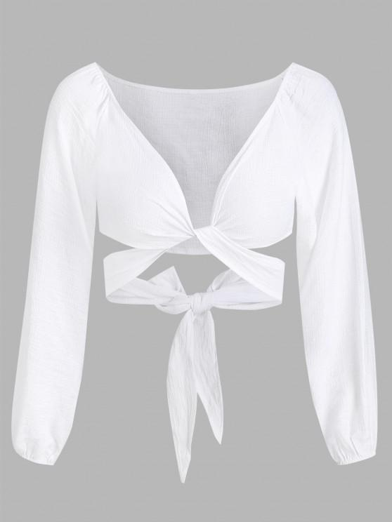 shops Cropped Twist Tie-around Blouse - WHITE L