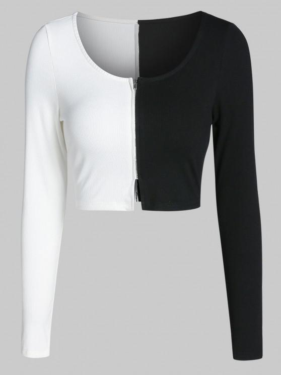 hot ZAFUL Colorblock Zip Up Cropped T Shirt - BLACK XL