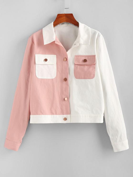 ZAFUL Bicolor Pocket Button Up Jacket - متعددة-A M