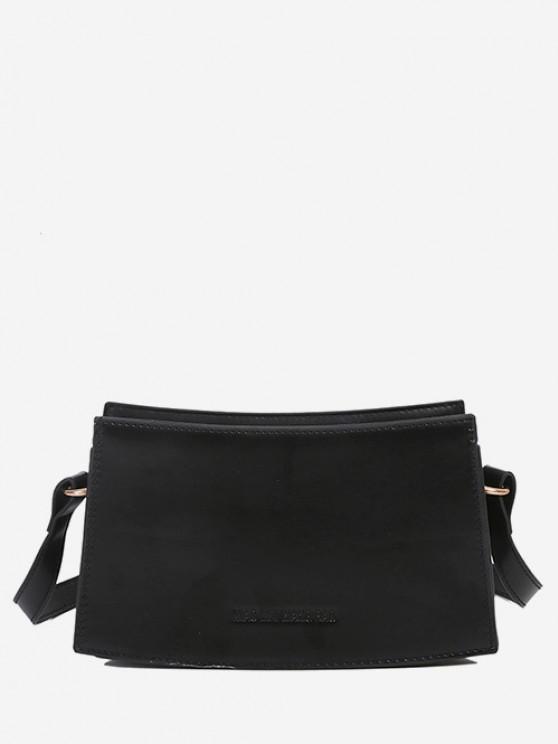 women Curved Rectangle Top-Stitching Shoulder Bag - BLACK