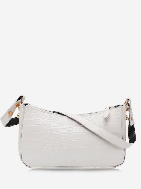 women's Minimalistic Embossed Solid Shoulder Bag - CRYSTAL CREAM