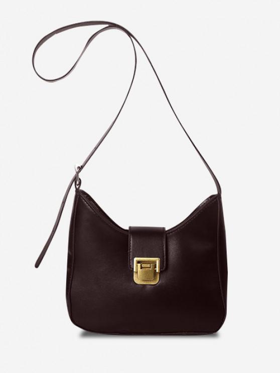 lady Solid Buckle Strap Crossbody Bag - DEEP BROWN