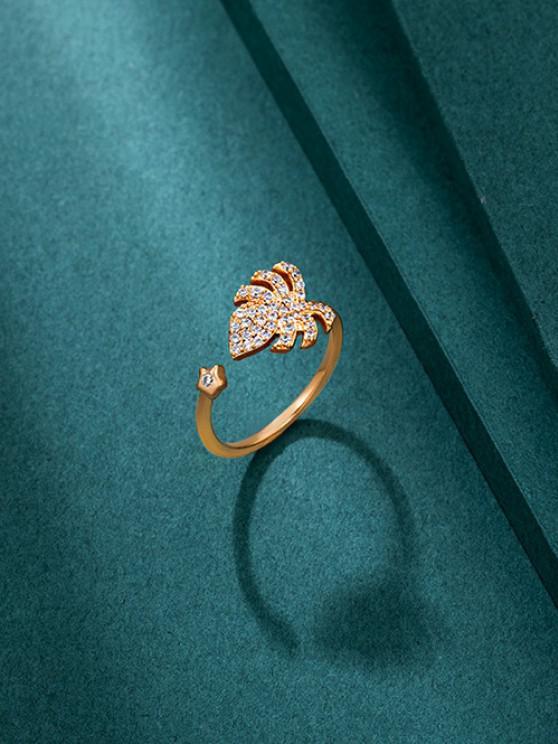 ladies Tropical Leaf Rhinestone Open Ring - GOLDEN