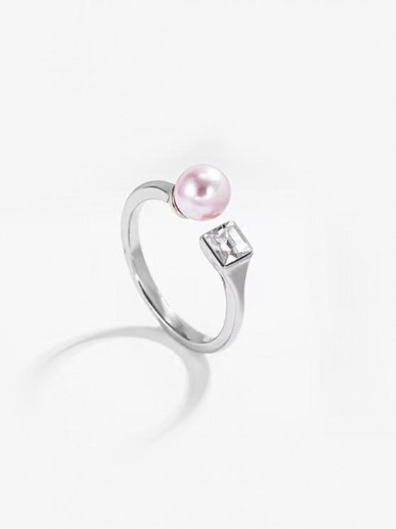 best Faux Pearl Geometric Opening Ring - SILVER