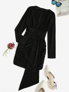Robe Ajustée Drapée à Paillettes - Noir S