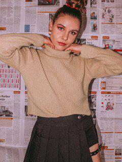 ZAFUL Turtleneck Plain Crop Sweater - Light Khaki L
