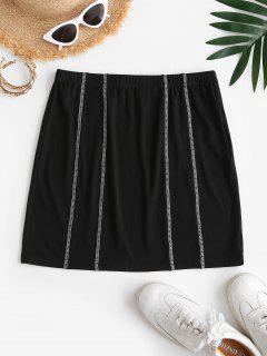 ZAFUL Mini Overlock Stitching Bodycon Skirt - Black S
