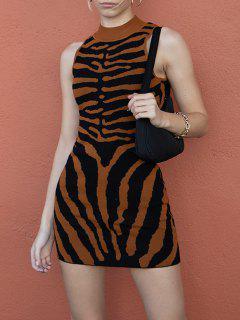 Halloween Skeleton Mock Neck Knit Tank Dress - Coffee S