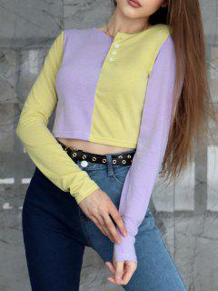T-shirtBicoloreavec Bouton En Avant - Jaune S
