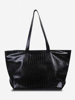 Minimalistic Large Capacity Embossed Tote Bag - Black