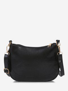 Solid Top-Stitching Flat Crossbody Bag - Black