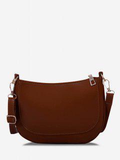 Solid Top-Stitching Flat Crossbody Bag - Deep Brown