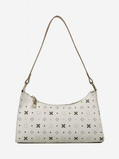 All-Over Printed Textured Shoulder Bag - Warm White
