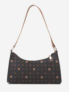 All-Over Printed Textured Shoulder Bag - Brown