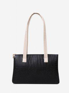 Embossed Double Handle Large Shoulder Bag - Black