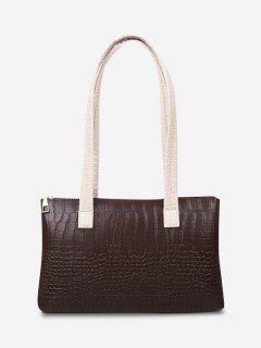 Embossed Double Handle Large Shoulder Bag - Deep Brown
