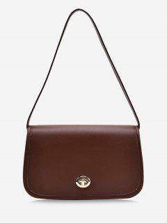 Flap Twist-Lock Topstitching Shoulder Bag - Deep Brown