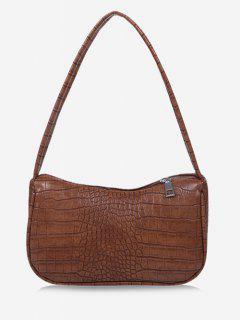 Solid Embossed Wide Strap Shoulder Bag - Brown