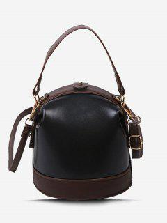 Color Contrast Dual Strap Top Snap Bucket Bag - Black