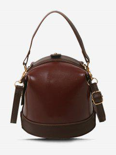 Color Contrast Dual Strap Top Snap Bucket Bag - Brown