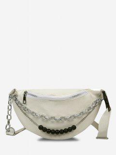 Double Chain Beaded Sling Bum Bag - Warm White