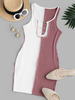 Ribbed Mesh Insert Topstitching Diamante Detail Tank Dress - Light Pink S