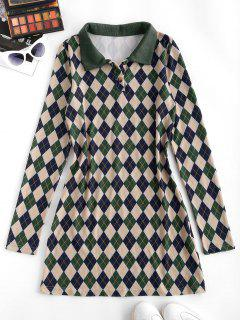 ZAFUL Long Sleeve Button Front Jersey Argyle Dress - Deep Green S