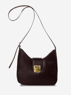 Solid Buckle Strap Crossbody Bag - Deep Brown