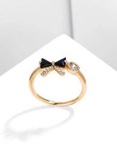 Bowknot Diamante Gold Plated Ring - Black Us 7