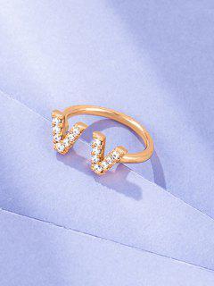 Double V Zircon Opening Ring - Golden