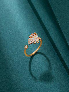 Tropical Leaf Rhinestone Open Ring - Golden